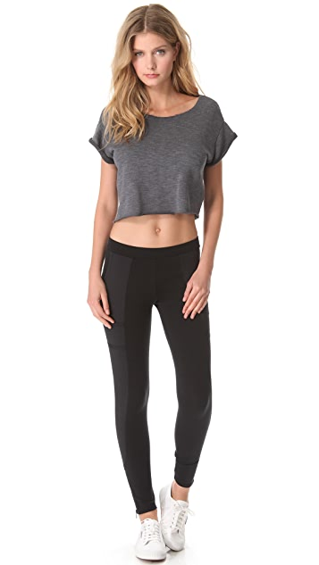 SOLOW Cropped Top with Cuffed Sleeves