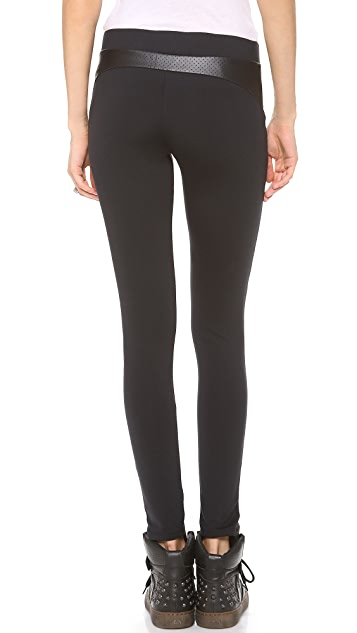 SOLOW Leggings with Faux Leather Trim