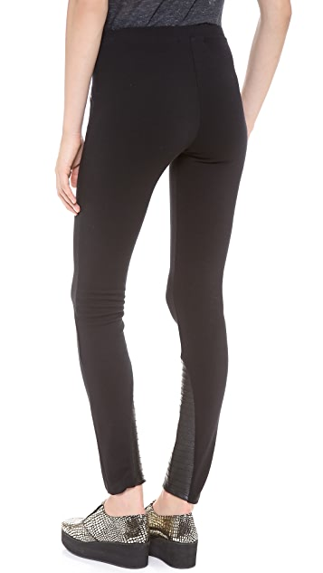 SOLOW Jodhpur Leggings with Faux Leather Patches