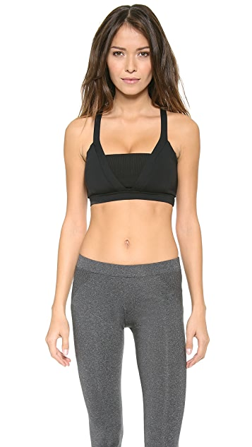 SOLOW Colorblock Bra with Cross Back Straps