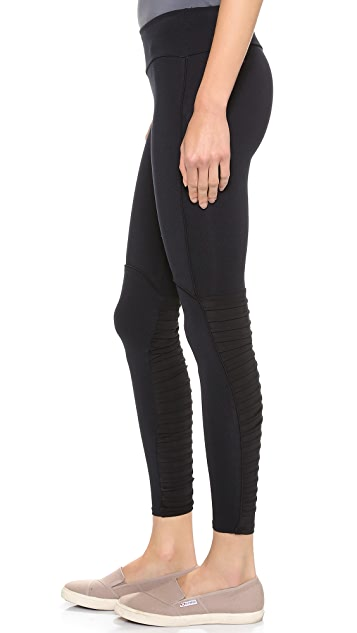 SOLOW Leggings with Pintucking and Piping