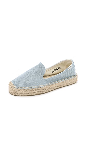 Soludos Denim Platform Smoking Slipper Espadrilles