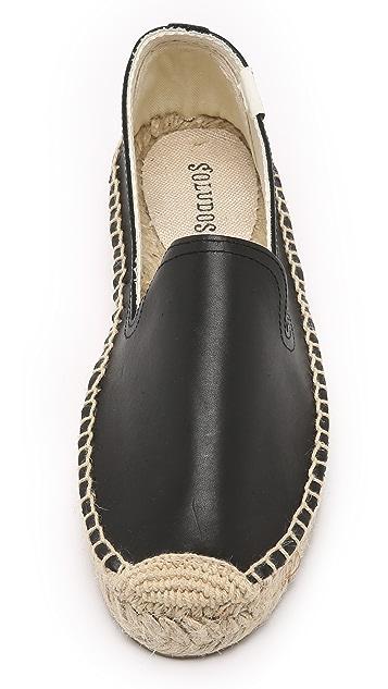 Soludos Platform Leather Smoking Slippers
