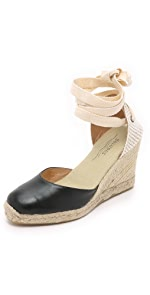 Leather Tall Wedge Espadrilles                Soludos