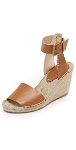 Open Toe Wedge Leather Espadrilles                Soludos