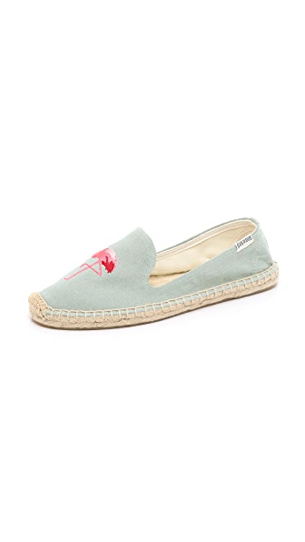 Flamingo Smoking Slipper Espadrilles, Chambray