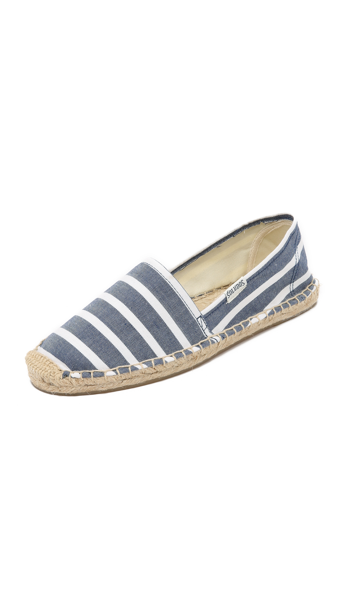 soludos female soludos classic striped espadrilles light navywhite