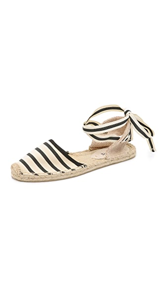 Classic Striped Ankle-Wrap Espadrilles, Natural/Black