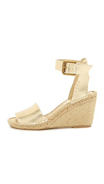 Soludos Open Toe Wedge Leather Espadrilles