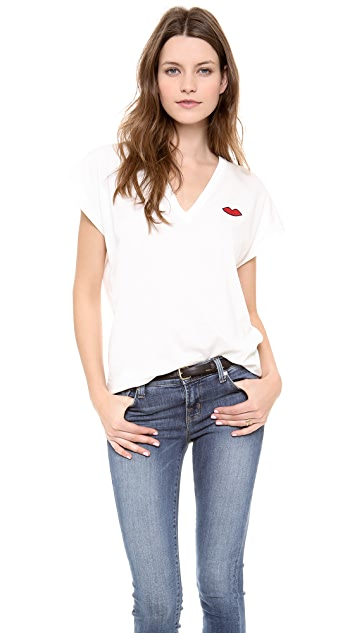 Sonia by Sonia Rykiel Soft V Neck Tee with Lips