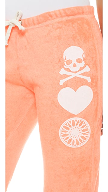 SoulCycle Skull Heart Wheel Cropped Sweatpants