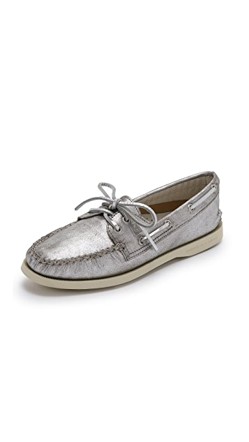 Sperry Metallic Suede Boat Shoes