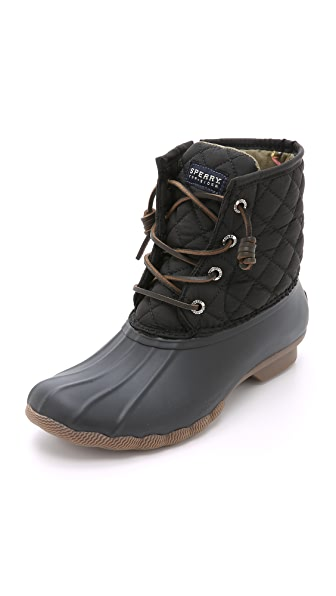 Sperry Saltwater Quilted Duck Booties - Black