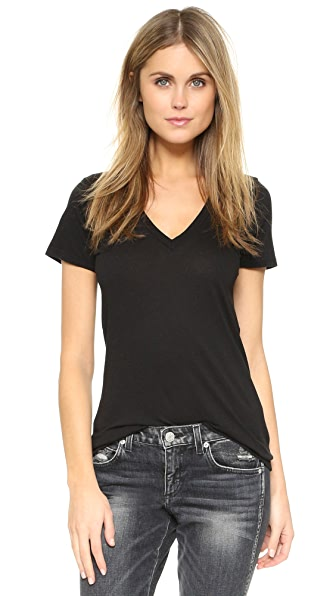 Splendid Very Light Jersey V Neck Tee In Black