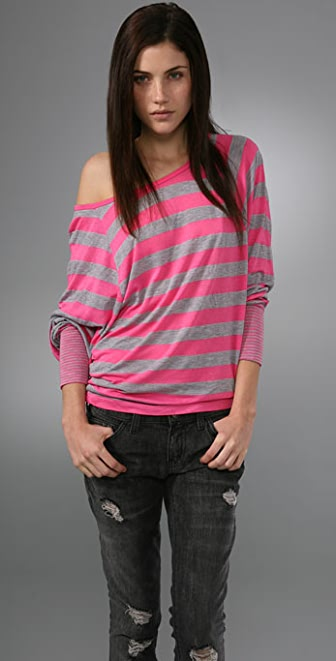 Splendid Contrast Striped Long Sleeve Tee
