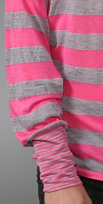 Splendid Contrast Striped Long Sleeve Tee