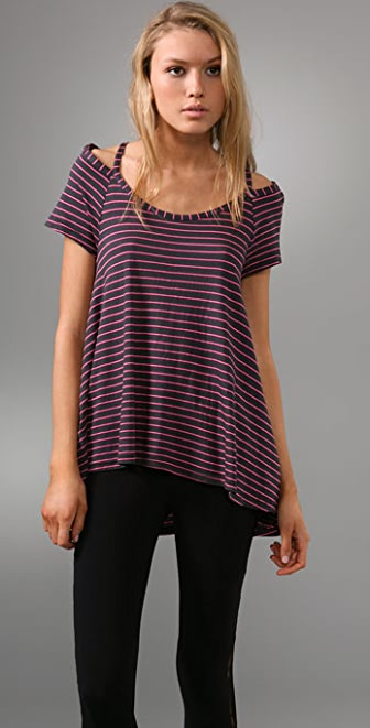 Splendid Neon Stripe Top with Cutout Shoulders