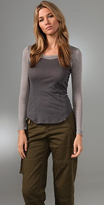 Splendid Sheer/Opaque Knits Scoop Neck Top