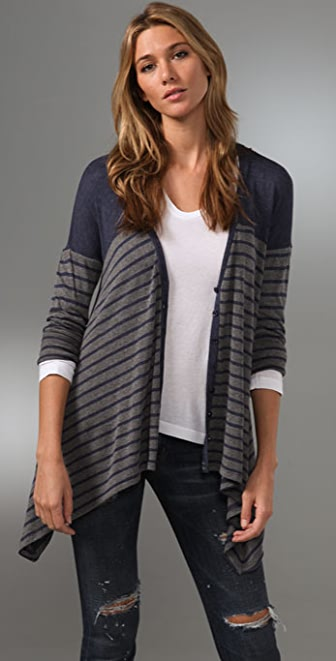 Splendid Navy Breton Stripe Cardigan