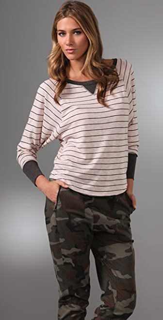 Splendid Charcoal Pencil Stripe Tee