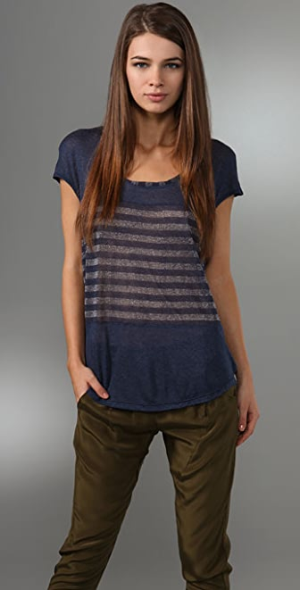 Splendid Metallic Shadow Stripe Top