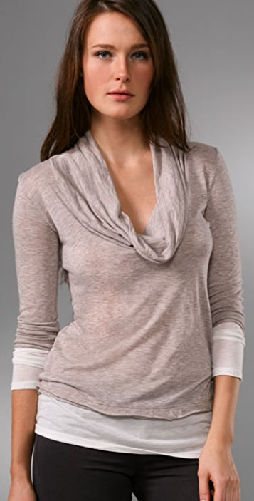 Splendid Color Blocked Cowl Neck Top