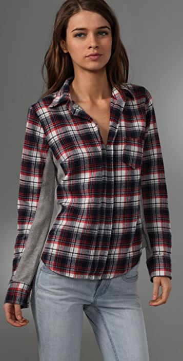 Splendid Plaid Flannel Thermal Top