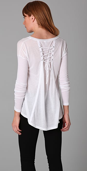 Splendid Novelty Lace Up Jersey Shirt