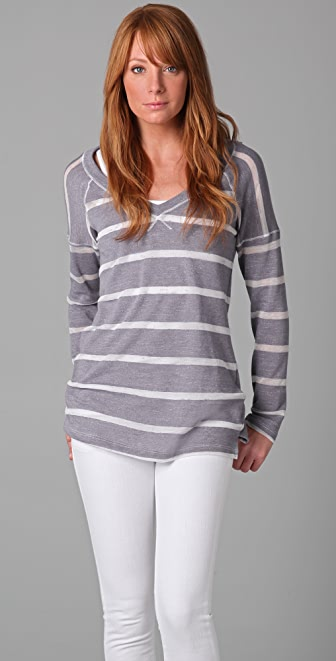 Splendid Loose Knit Stripe V Neck Top