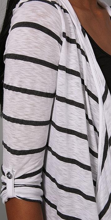 Splendid Charcoal Stripe Hooded Cardigan