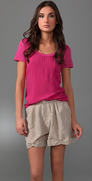 Splendid Scoop Neck Shirting Tee