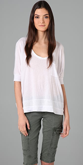 Splendid Mock Twist Tee with Mesh Detail