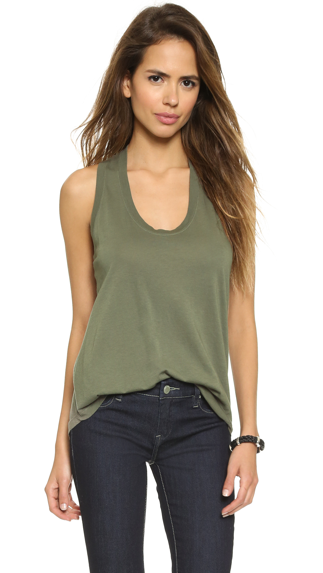 Splendid Very Light Jersey Tank - Army Green