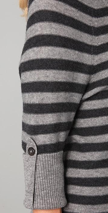 Splendid Reverse Stripe Button Back Sweater