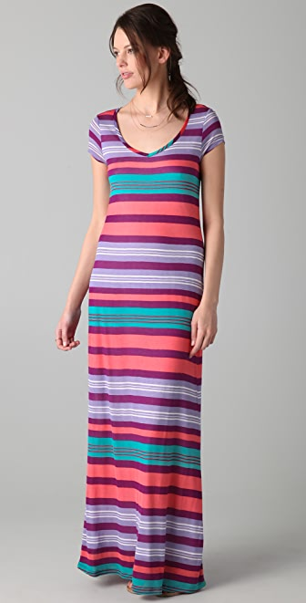 Splendid Beach Towel Stripe Maxi Tee Dress