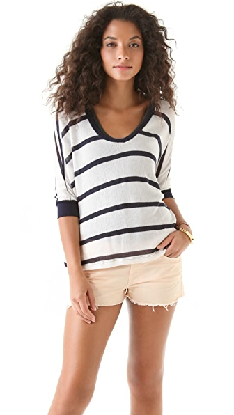 Splendid Harbor Stripe Loose Knit Sweater