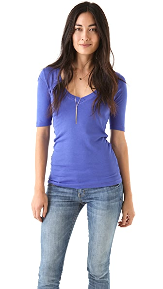 Splendid 1x1 V Neck Tee