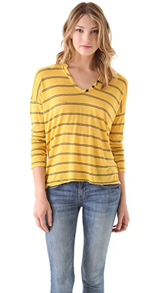 Splendid Berlin Striped V Neck Tee