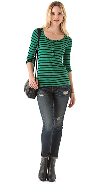 Splendid Black Venice Striped Henley Tee