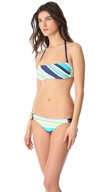 Splendid Circus Stripe Bandeau Bikini Top