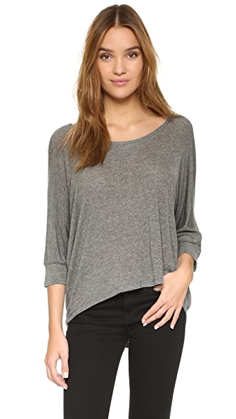 Splendid Drapey Luxe Dolman Top In Steel