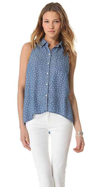 Splendid Ditzy Chambray Sleeveless Top