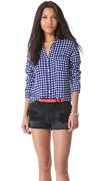 Splendid Gingham Button Down Blouse