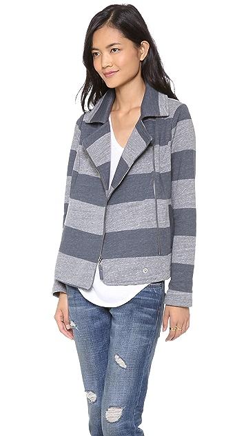 Splendid Striped Fleece Moto Jacket