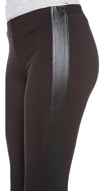 Splendid Leggings with Faux Leather Stripe