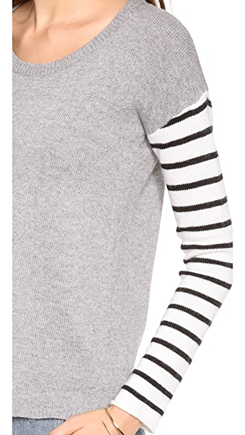Splendid Stripe Blocked Long Sleeve Sweater