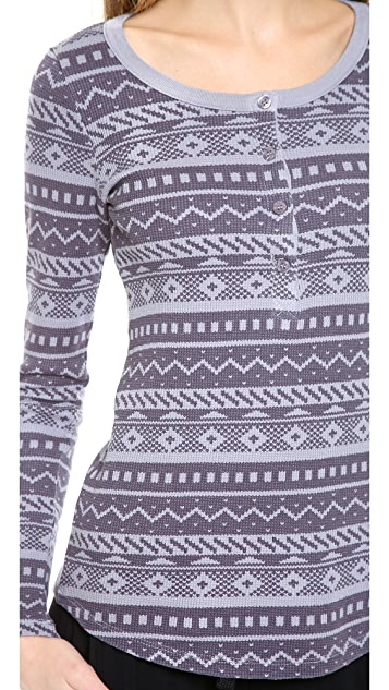 Splendid Printed Thermal Henley