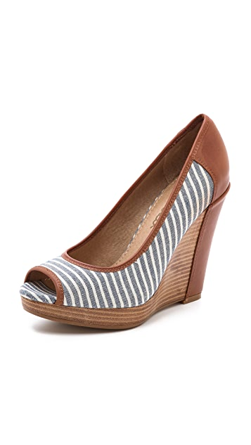 Splendid Beverly Striped Wedge Pumps