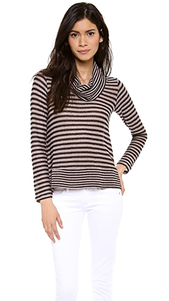 Splendid Deco Stripe Loose Knit Turtleneck