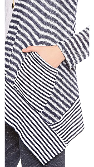 Splendid Deco Stripe Loose Knit Hooded Cardigan